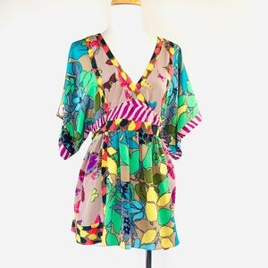 Tops - Rebecca Taylor Kimono Floral Butterfly Silk Blouse